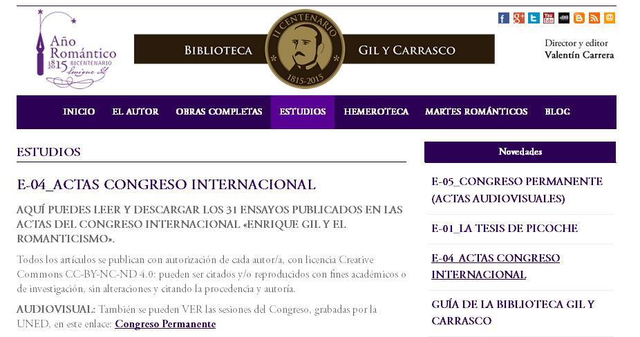 Se publican las 31 ponencias del Congreso Romántico