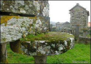 Tornarratos: piedra plana y circular que separa el pilar del cuerpo del hórreo y evita la entrada de ratones al granero.